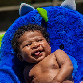 Chubby Monster 9 by Malik Marcell - Babies & Children Babies ( shades, monster, pool, blue, florida, infant, chubby, baby, relaxing, orange juice, gerber, kairo )