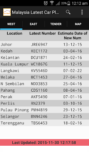 (APK) تحميل لالروبوت / PC Malaysia Car Plate Terkini تطبيقات screenshot