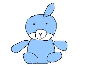 上色後的崩浩,一隻藍色的兔子