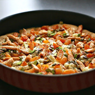 Brie Chicken Pizza with Dried Apricots