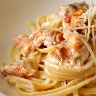 Smoked Salmon Linguine With Lemon Cream Sauce.