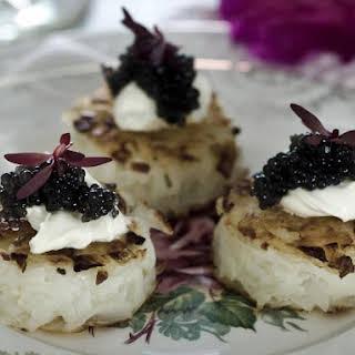 Potato Rosti with Caviar and Creme Fraiche.