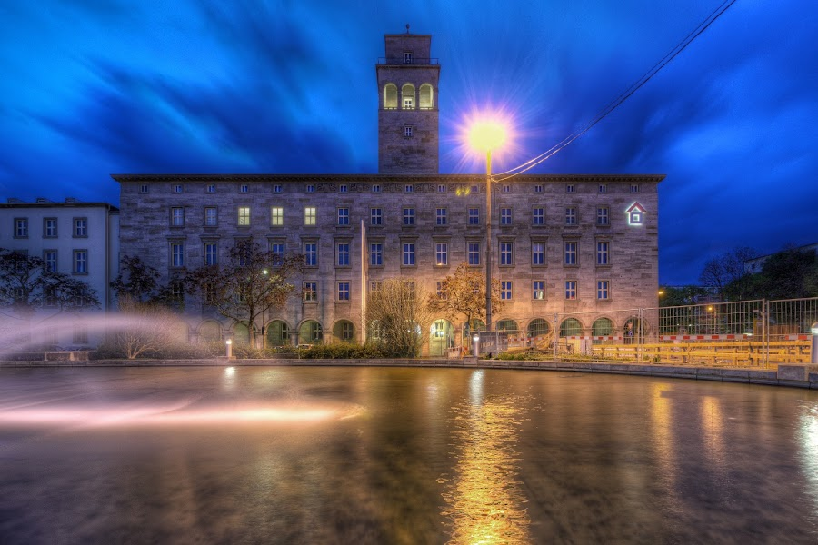 blue hour at volkswohnung by Jessica Horn - Buildings & Architecture Other Exteriors ( water, karlsruhe, deutschland, building, blue hour, house, city, blue, sunset, long exposure, night, germany, scruffybread, evening,  )