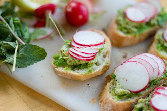 Photo: 2.Smashed Pea Crostini with Radishes and Pesto Blog: PDXfoodlove.com, Name: Rebekah Hubbard http://pdxfoodlove.com Title/caption:mashed Pea Crostini with Radishes and Pesto Post for picture: http://pdxfoodlove.com/smashed-pea-crostini-with-radishes-and-pesto/ Camera and lens: Canon EOS Rebel T3 with Canon 50mm f/1.8 II