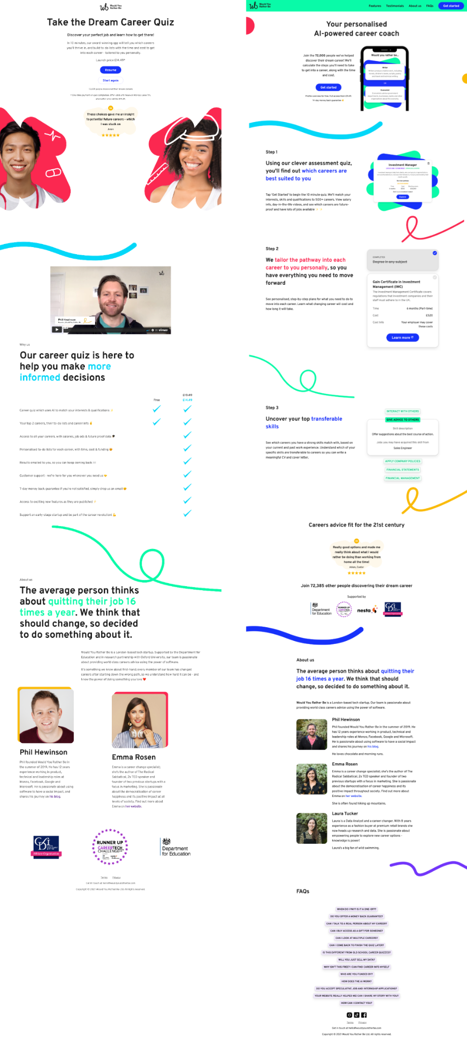 Old homepage in June 2021 and latest one in September 2021