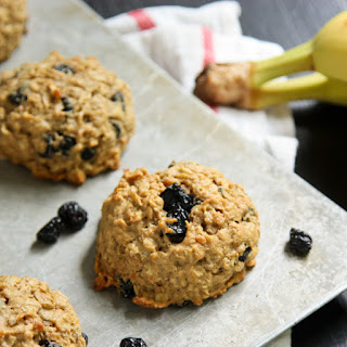 Banana Peanut Butter Breakfast Cookies with Whole Wheat, Oats, and Dried Blueberries.