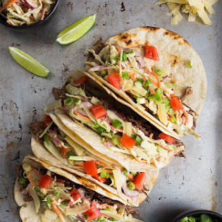 Shredded Beef Tacos with Mustard Slaw