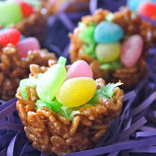 Chocolate Rice Krispie Treat Nests