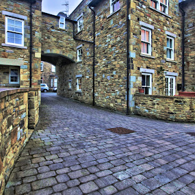 Stonewashed by BethSheba Ashe - City,  Street & Park  Street Scenes ( pastel, building, reflection, arch, purple, reflections, stone, windows, hd, rural, pwcdetails-dq, archway, paving )