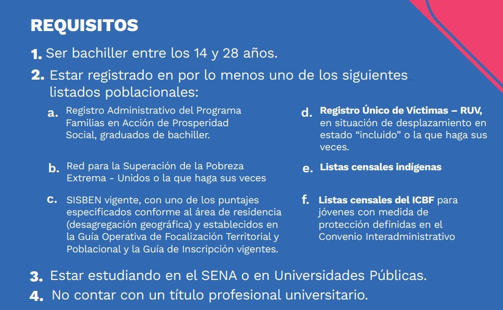 Requisitos para participar en jóvenes en acción Colombia