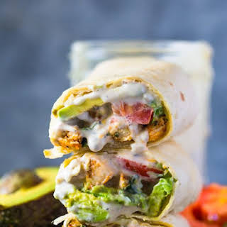 Avocado Ranch Chicken Burrito Wraps.