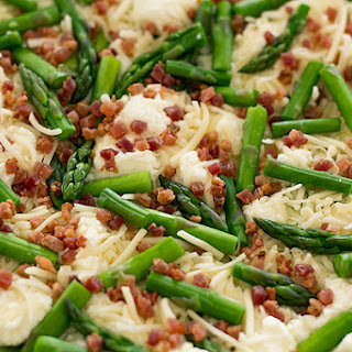 Six-Cheese Lasagna with Pancetta, Spinach and Asparagus in a Summer Basil-Cream Sauce.