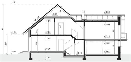 Dom przy Cyprysowej 15 K2 - Przekrój