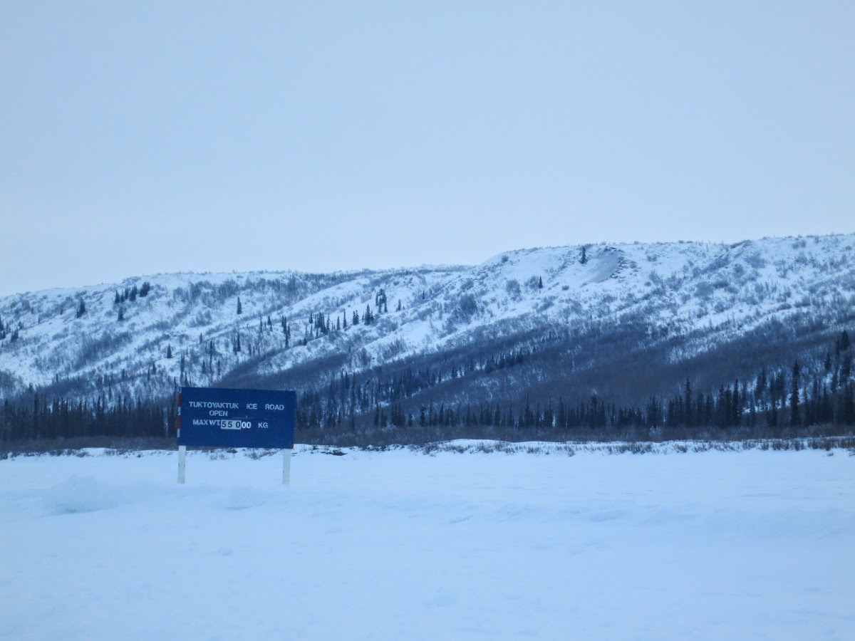 The Only Ice Road Signage on Mackenzie River