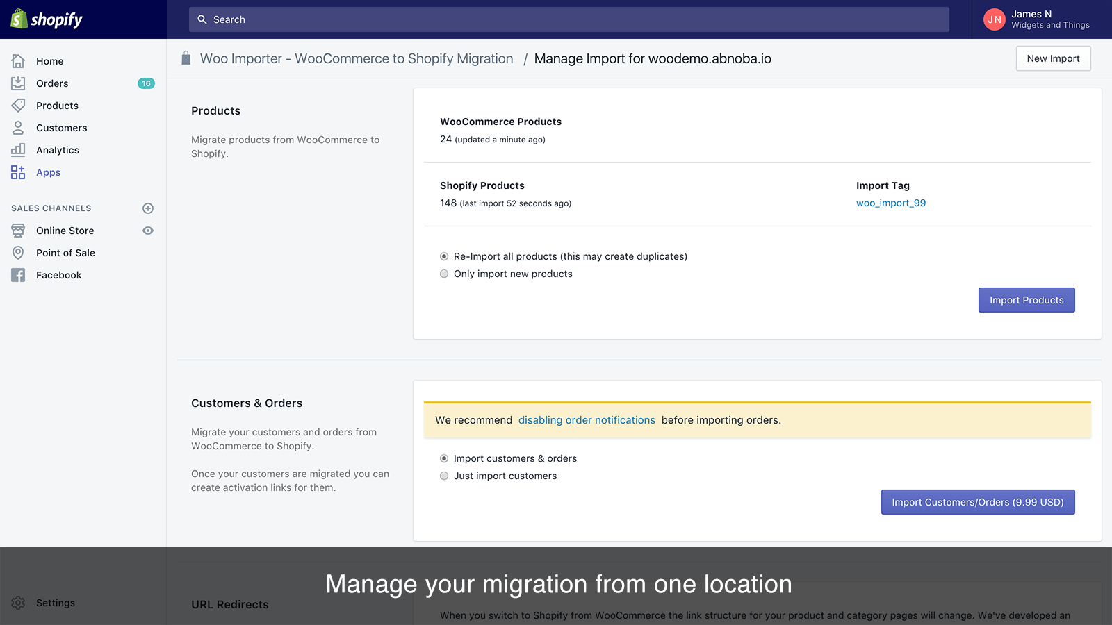 Manage your WooCommerce to Shopify Migration