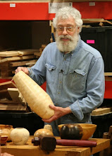 Photo: Bob Grudberg's segmented vase also caught his eye.  David noted the possibility of smoothing the curve at the join.
