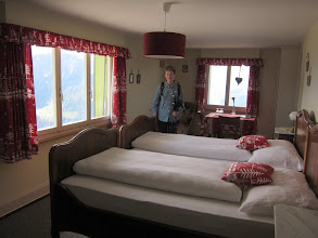 Photo: Checking in to the 100-year-old Hotel Schynige Platte (7,684 ft.), we luck out with a corner room ...