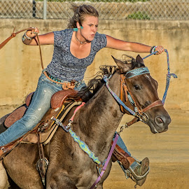 Barrel Racer 3 by Joe Saladino - Sports & Fitness Rodeo/Bull Riding ( girl, competition., barrel racer, horse, racer )