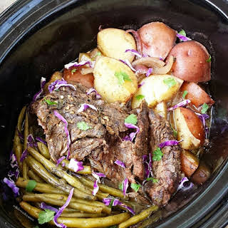 Slow Cooker Caribbean Beef, Potatoes and Green Beans.