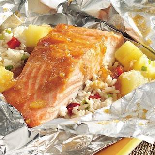 Grilled Caribbean Salmon Packs.