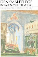 Photo: Kirche Unterriexingen bei Ludwigsburg in Baden Württemberg  Bruno Taut & Franz Mutzenbecher 1906  Taut und Mutzenbecher verwendeten für die Ausmalung des gotischen Chores prachtvolle Farben. (hellblaue Wände, die Sockel wurden in Pompejanischrot und Orange, das Rippengewölbe in Preußischblau gekleidet) Die meisten Flächen sind in den Jahren 1950 und 1986 übermalt worden. Aber wir haben zwei Kasetten an den Bankbalustraden mit einem Weinstock- und einem Ährenmotiv von Taut noch, und die Säulen weisen noch die ursprünglich blaue Färbung auf.