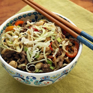 Stir-fried Beef And Cabbage With Spicy Peanut Sauce.