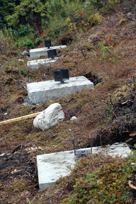 Upright posts for the remote alaska cabin foundation ana for Cabina remota alaska
