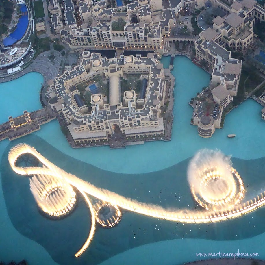 Dubai dancing fountain, view from the top of Burj Khalifa, Dubai, UAE