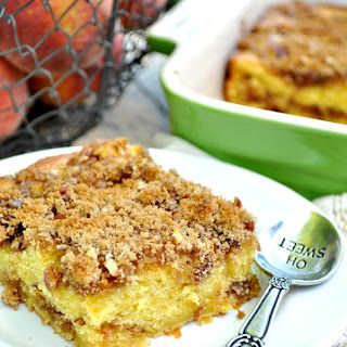Old-Fashioned Cinnamon Streusel Peach Cake