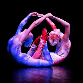 Unity by Mladen Bozickovic - People Musicians & Entertainers ( girls, reflection, wheel, reach, pose, red, unity, blue, hands, dark, costume, legs, ballet, dance, move, black )