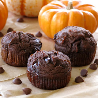 Healthy Chocolate Pumpkin Muffins.
