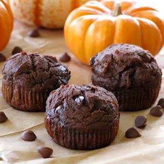 Healthy Chocolate Pumpkin Muffins.