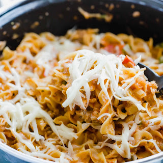 Sausage and Pepperoni Pizza Noodles Recipe