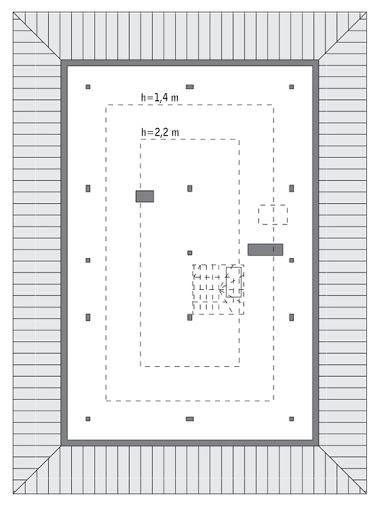 Piasek pustyni - wariant I - M212a - Rzut poddasza do indywidualnej adaptacji (58,1 m2 powierzchni użytkowej)
