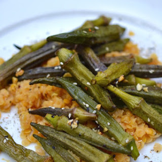 Roasted Okra over Red Lentils