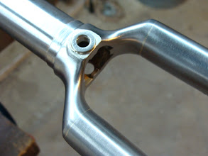 Photo: Super smooth finishing on the internal socketed fork crown and a stainless washer for the brake contact point.