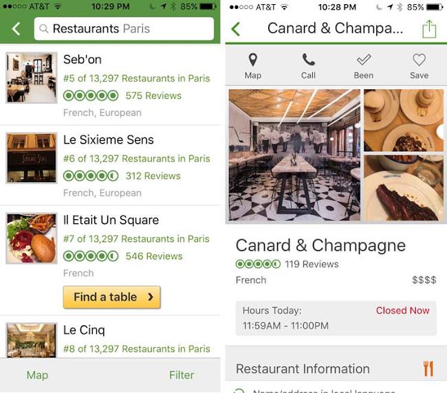 TripAdvisor: Two mobile app screenshots of restaurants in Paris.