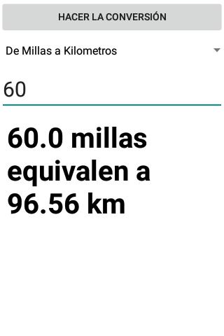 Conversor de Millas a Kilometros screenshot 4