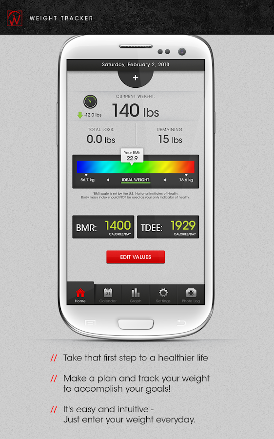 Weight Tracker - BMI BMR TDEE- screenshot