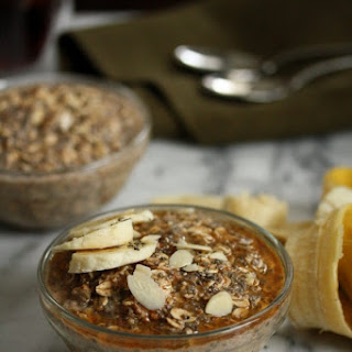 Maple-Chia Overnight Oatmeal with Almond Butter.