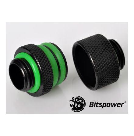 "Bitspower koblingsadapter, 15mm lang, 1/4""BSP, Matt Black"