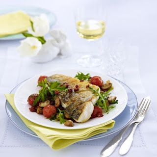 Pan-Fried Sea Bass with Warm Tomato, Bacon and Mushroom Salad