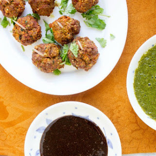 African Spiced Bison Meatballs With Cilantro Chutney And Tamarind Dip.