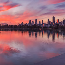 Panoramic Sunset by Keith Walmsley - City,  Street & Park  Vistas ( victoria, panorama, reflection, sunset, buildings, australia, clouds, water, landscape )