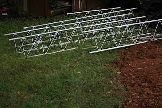 """Photo: 4 each 10' Mid Sections of Rohn 55G.  1 each 5' section.  The 5' Section was the bottom cut off a mid-Section at 60"""".  I used the Top section as the SB55G. (They didn't have SB55G's when I picked this up)"""