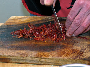 Photo: chopping softened dried red chillies