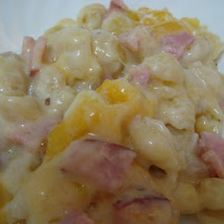 Ham and Cheesy Noodle Casserole.