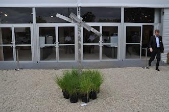 "Photo: Ken Bartolazzo's ""Triple Beam"" via Scott White Contemporary — at the entrance of Art Southampton"
