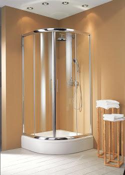 Paroi de douche arrondie, 80 et 80 cm, 90 et 90 cm ou 100 et 100 cm
