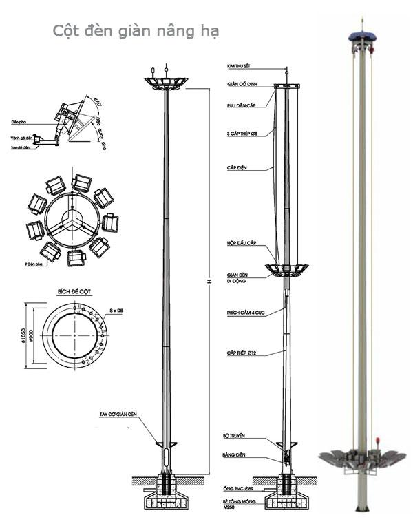 Cột đèn giàn đèn nâng hạ DG25A